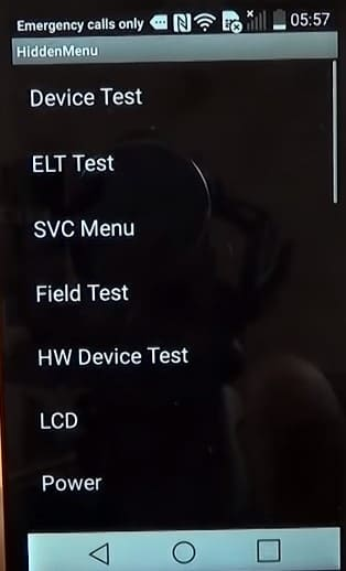 Modo ingeniero LG