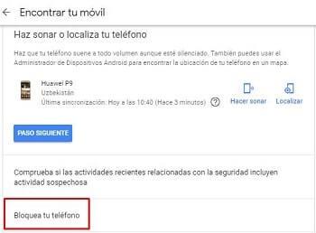 desbloquear patrón con servicio de google