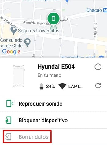 Android Device Manager teléfono móvil