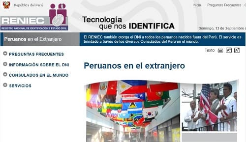 Reniec documentos requisitos Perú