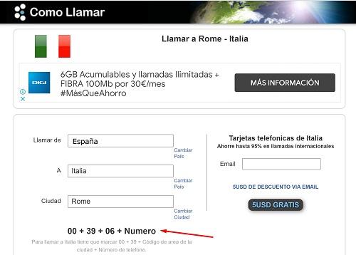 Llamar desde España a Italia