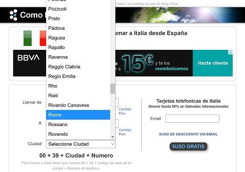 Llamar a Italia desde España