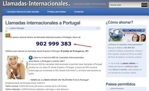 Llamar desde España a Portugal