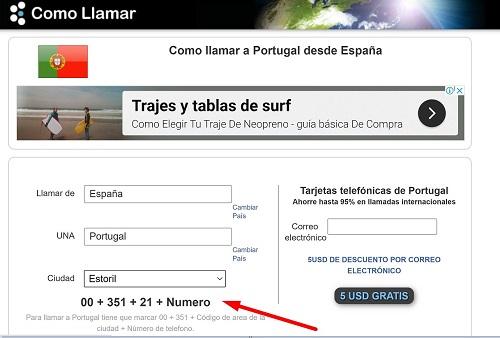 Cómo llamar desde España a Portugal