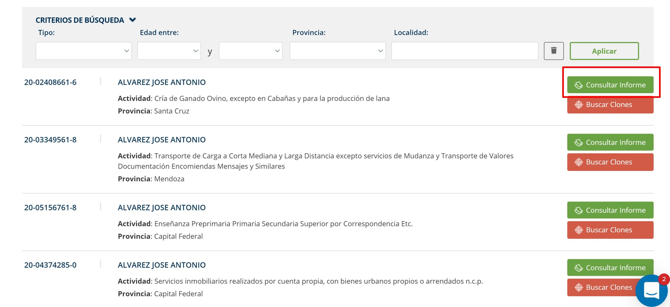 Base de datos de personas en Argentina
